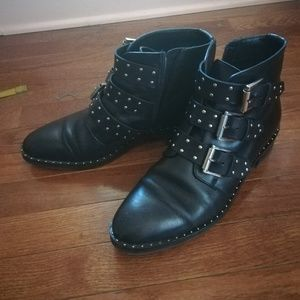 ASOS ASHER Leather Studded Ankle Boots US10